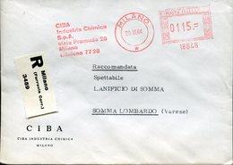 Italia (1964) -  CIBA Industria Chimica, Raccomandata Da Milano (ferrovia) - Affrancature Meccaniche Rosse (EMA)