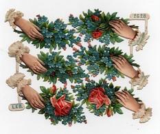 Belle CHROMO Découpis Gaufrée Main Mains Fleurs Roses Myosotis L & B. 2628 Printed In Germany - Children