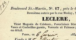 1829 PARIS VIE QUOTIDIENNE LECLERE MAGASIN DE CRISTAUX PORCELAINES VERRERIE Boul. St Martin Pour Mr Martin - 1800 – 1899