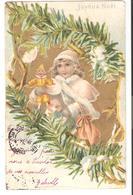 Belle CPA Fantaisie Joyeux Noël Gaufrée Avec Dorures  - Enfant - Jouets - Poupée - Santa Claus