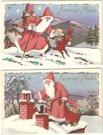 2 CPA Fantaisie à Système - Joyeux Noël  Dorures Brillants - Père Noël - Jouets - Poupée - Ane - Santa Claus