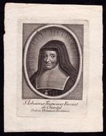 Incisione, Santino: S. GIOVANNA F. FREMIOT DI CHANTAL - RB - Inc.: C. Tinti-XVIII Sec. - RI-INC008 - Religión & Esoterismo