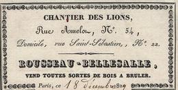 1829 PARIS VIE QUOTIDIENNE CHANTIER DES LIONS ROUSSEAU BELLESALLE Bois à Bruler Rue Amelon  Avec Signature - 1800 – 1899