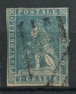 Toscana 1857 Sass. 13 Usato 60% Firmato 2 Cr. Azzurro - Toscana