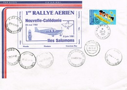 Nouvelle Caledonie New Caledonia FFC Premier Vol Aerien Premier Rallye Noumea Salomons Santo Vila Vanuatu Honiara 1981 B - Lettres & Documents