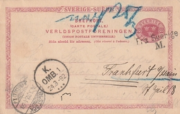 Schweden / 1892 / Postkarte Mi. P 20 Nach Frankfurt, Versch. Int. Stempel (2586) - Postal Stationery