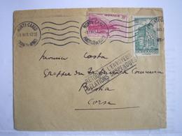 MONACO - Enveloppe Du 01/09/1943 Pour La Corse Avec Retour à L'envoyeur Cause Relations Postales Suspendues RARE - Marcofilia