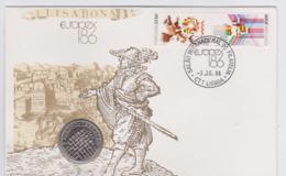 Portugal Coin Cover 1986 Europex With 25 Escudo Coin (NB**LAR8-76) - Monete