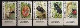Salomon 1990 N° 711 / 5 ** Insectes, Coléoptères, Melon, Fourmi, Charançon, Mouche, Taro, Scarabée, Scapane Patate Douce - Salomon (Iles 1978-...)