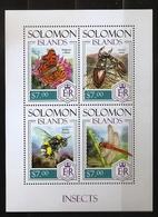 Salomon 2013 - Feuillet 4 Valeurs ** Insectes, Coléoptères, Papillon, Bourdon, Libellule Lucanus Cervus Robert-le-Diable - Salomon (Iles 1978-...)