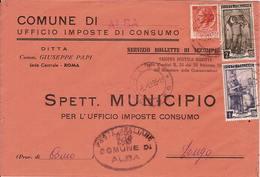 """(St.Post.).Repubblica.Busta In Tariffa 13 Lire.Affranc. Mista """"Siracusana"""" E """"Italia Al Lavoro"""" (51-15) - 6. 1946-.. Republik"""