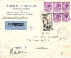 (St.Post.).Repubblica.Annulli Di Pergine(TN) Su Raccomandata Espresso Intestata Del 3 Nov 1953 Per Parma (215-16) - 6. 1946-.. Republik