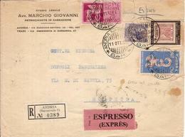 """(St.Post.).Repubblica.60 Lire """"Europa""""+ 60 Lire """"F.lli Napoli"""".Valori Gemelli Su Raccomandata Espresso (345-16) - 6. 1946-.. Republik"""
