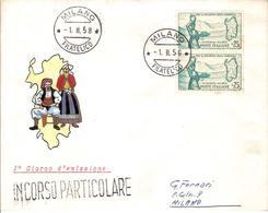 """(St.Post.).Repubblica.1958.""""Sardegna"""".25 Lire Coppia Su FDC (51-17) - F.D.C."""