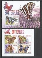 ST617 2015 SIERRA LEONE FAUNA INSECTS BUTTERFLIES 1KB+1BL MNH - Schmetterlinge