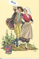 CPSM COSTUMES  Bourgogne Couple Vigne Vendanges - Costumes