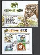 ST625 2015 SIERRA LEONE ANIMALS ENDANGERED SPECIES 1KB+1BL MNH - Stamps