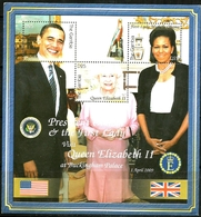 GAMBIA - 2009 - President & Mrs Obama Visit Queen Elizabeth II - Perf 3v Souv Sheet - M N H - Gambia (1965-...)