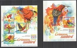 ST652 2015 SIERRA LEONE FAUNA BIRDS CRIMSON SUNBIRD SINGAPORE EXHIBITION 1KB+1BL MNH - Oiseaux