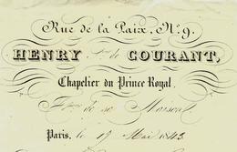 1843 PARIS ROYAL !!  RUE DE LA PAIX HENRY COURANT CHAPELIER DU PRINCE ROYAL Pour Mme Coureau Avec Signature VOIR SCANS - 1800 – 1899