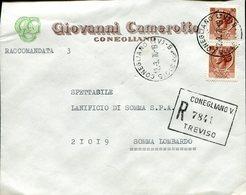 Italia (1970) - Raccomandata Da Conegliano (TV) - 6. 1946-.. Repubblica