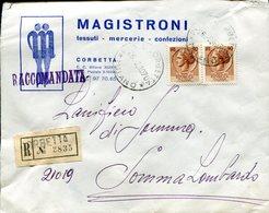 Italia (1970) - Raccomandata Da Corbetta (MI) - 1961-70: Marcophilie