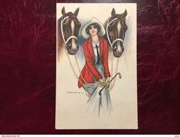 """Cpa---""""chevaux- Jolie Cavalière-""""--Giovanni Nanni-(my Ref JN4)-1922 - Nanni"""