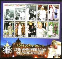 GAMBIA - 2003 - Pope John Paul II, 25th Anniv Of Pontificate - Perf 10v Souv Sheet - M N H - Gambia (1965-...)