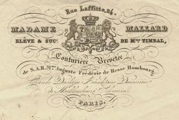 1847 PARIS  MODE COUTURE RUE LAFFITTE MADAME MALLARD COUTURIERE Pour Mme TOURET  VOIR SCANS - 1800 – 1899