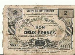 WW1 BON POUR  DEUX FRANCS ARRONDISSEMENT D AVESNES CACHET COMMUNE  DE PREUX AU SART  1916 - Buoni & Necessità