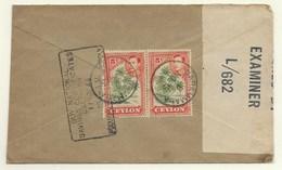 Ceylon 1944, Censored Letter Postmarked NARAMALLA - Ceylon (...-1947)