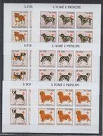 O951. 6x S.Tome E Principe - MNH - 2003 - Home Pets - Dogs - Imperf - Full Sheet - Pflanzen Und Botanik