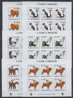 O951. 6x S.Tome E Principe - MNH - 2002 - Animals - Dogs - Imperf - Full Sheet - 1 - Pflanzen Und Botanik