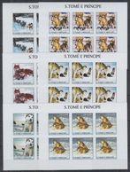 O951. 6x S.Tome E Principe - MNH - 2002 - Animals - Dogs - Imperf - Full Sheet - Pflanzen Und Botanik