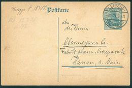 Germany Leipzig Lindenau 1921 Postal Card To Hanau - Lettres & Documents