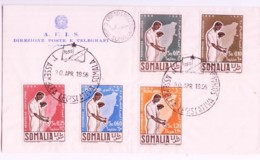 SOMALIA - 1956 -LEGASLATIVE ASSEMBLY SET OF 5  ON OFFICIAL FIRST DAY COVER,  SELDOM SEEN COMPLETE - Somalia (1960-...)