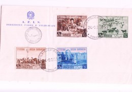 SOMALIA - 1956 -SOMALI FAIR SET OF 4  ON OFFICIAL FIRST DAY COVER,  SELDOM SEEN COMPLETE - Somalia (1960-...)