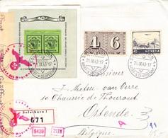 1943 Genf Block Auf Zensuriertem Einschreibe Brief Mit Zusatzfrankatur Solothurn Nach Ostende; Leichte Bedarfspuren - Blokken