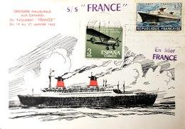 """Thèmes Transports > Bateaux TIMBRES CROISIERE INAUGURALE AUX CANARIES DUU PAQUEBOT""""FRNCE""""DU 19-27/1/1962  VOIR IMAGES - Schiffe"""