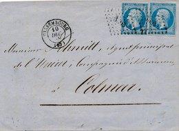 LETTRE N°14X2 WISSEMBOURG BAS RHIN POUR COLMAR - 1849-1876: Classic Period
