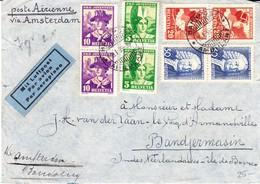 1935 Flugbrief Mit  Juventute Serie 1934 In Paaren Mit Schweizer Bahnpost Nach Bandjermasin, Indonesien; Gebrauchspuren - Pro Juventute