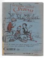 PROTEGE CAHIER..Illustrateur POULBOT..Les Machines Agricoles C. PUZENAT..2 Scans - Agriculture