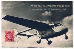 """France - Carte Postale """"CANNES Festival International Du Film - Journée De L'Air 1946"""" - Cachet Concordant - Postmark Collection (Covers)"""