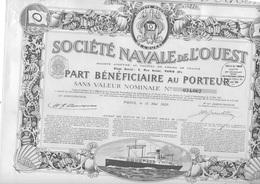 SOCIETE NAVALE DE L'OUEST -  PART BENEFICIAIRE  -ANNEE 1923 - Navigation