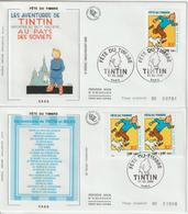 France 2000 Lot De 2 FDC Tintin 3303 Et Paire P3304A - FDC