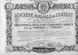SOCIETE NAVALE DE L'OUEST -  OBLIGATION DE 250 FRS 6 % -  -ANNEE 1923 - Navigation