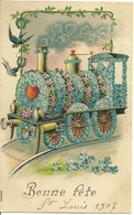 Carte Gaufrée  - Bonne Fête  - Une Locomotive Décorée - Auguri - Feste