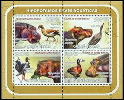 GUINEE BISSAU Hippopotames & Oiseaux 4v Neuf ** MNH - Guinea-Bissau