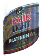 BAHAMAS : KALIK Beer  KALIK LIGHT PLATINUM With Top And Back Label - Bier
