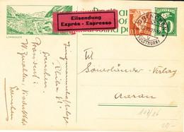 1927 10 Rp Bildkarte Express Grenchen- Aarau; Postauto, Lukmanier - Entiers Postaux